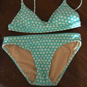 J. Crew XS Blue Polka Dot Bikini Adjustable